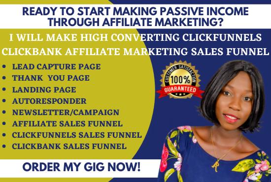 I will make high converting clickfunnels, clickbank affiliate marketing sales funnel, FiverrBox