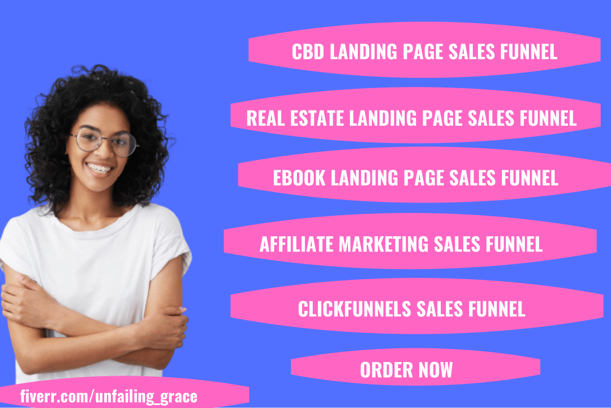 I will design landing page sales funnel for cbd, real estate landing, FiverrBox