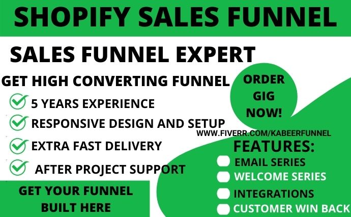 I will do shopify store, dropshipping clickfunnels sales funnel in clickfunnels, FiverrBox