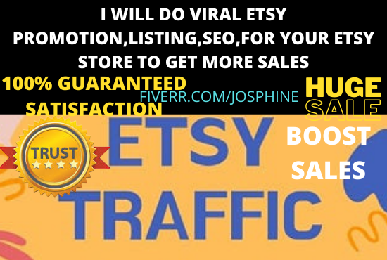 I will do viral esty promotion,listing,SEO,for your etsy store to get more, FiverrBox
