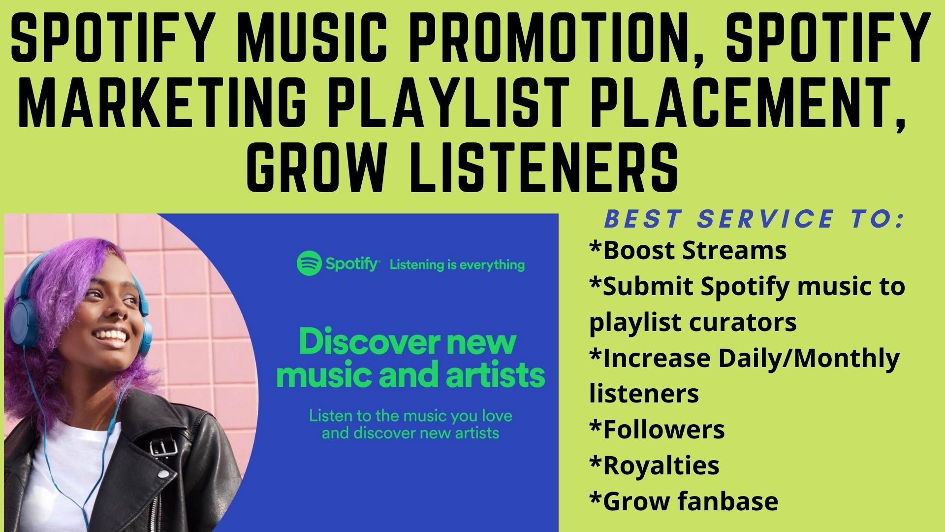 I will do organic spotify music promotion and submit to 20k playlist, FiverrBox