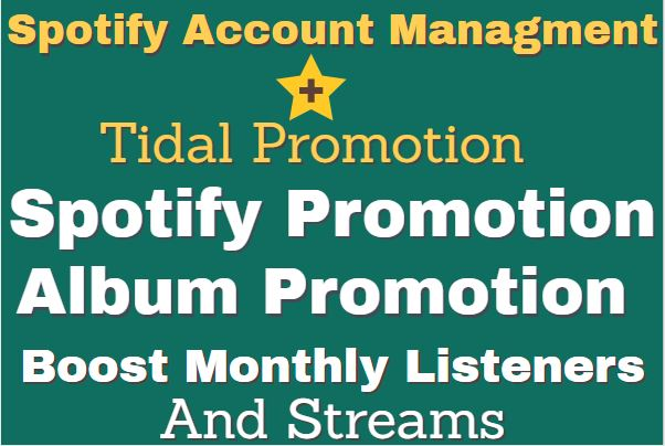 I will increase your spotify monthly listeners, spotify album promotion, FiverrBox