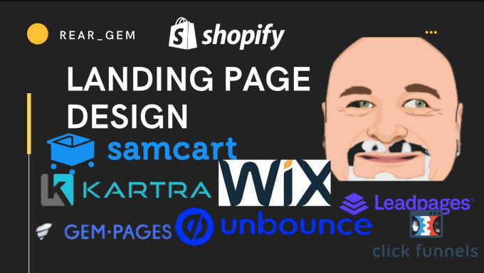 I will do samcart landing page, shopify landing page, gempages,wix and clickfunnels, FiverrBox