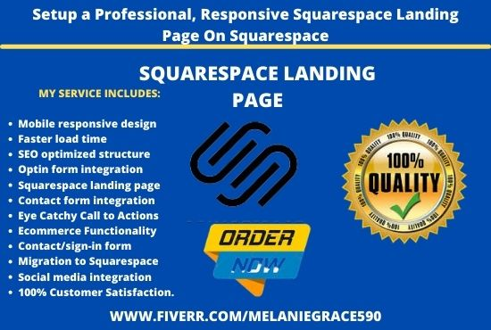 I will setup a professional, responsive squarespace landing page on squarespace, FiverrBox