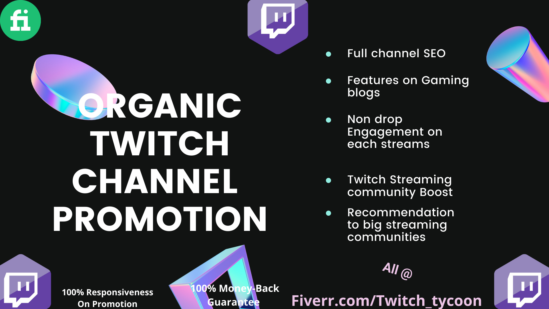 I will run effective twitch promotion for your twitch channel, FiverrBox