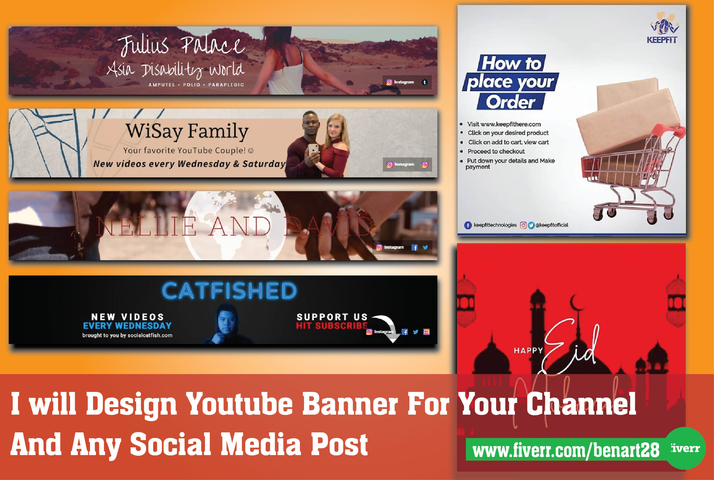 I will design a youtube banner for your channel or social, FiverrBox