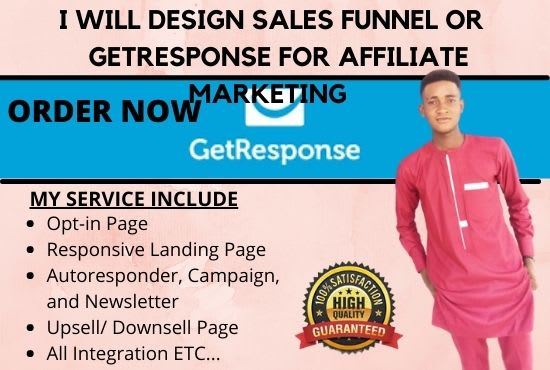 I will build a sales funnel, landing pages using clickfunnels, getresponse, leadpages, FiverrBox
