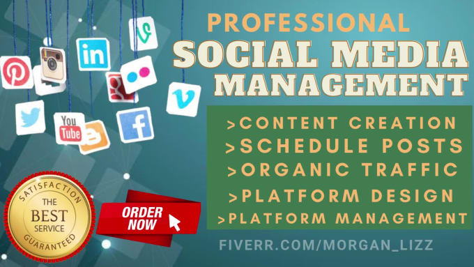 I will manage your social media,create content, updating and daily post on, FiverrBox