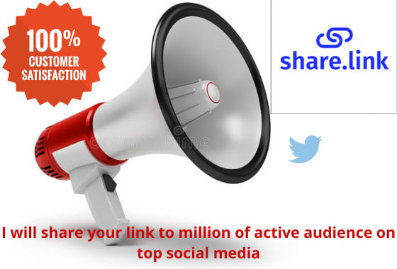 I will share your link to 50 million active audience on top, FiverrBox