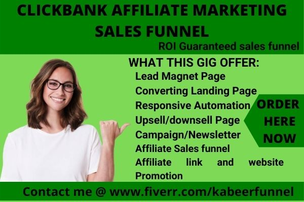 I will build your clickbank ROI affiliate marketing sales funnel in clickfunnels, FiverrBox