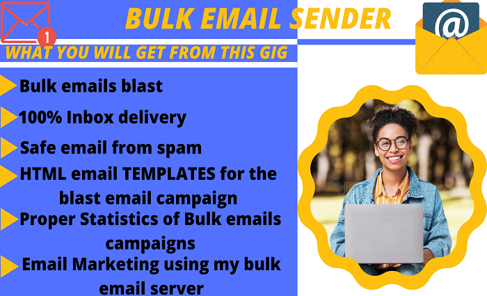 I will do organic bulk email blast, email blast, email marketing, and, FiverrBox