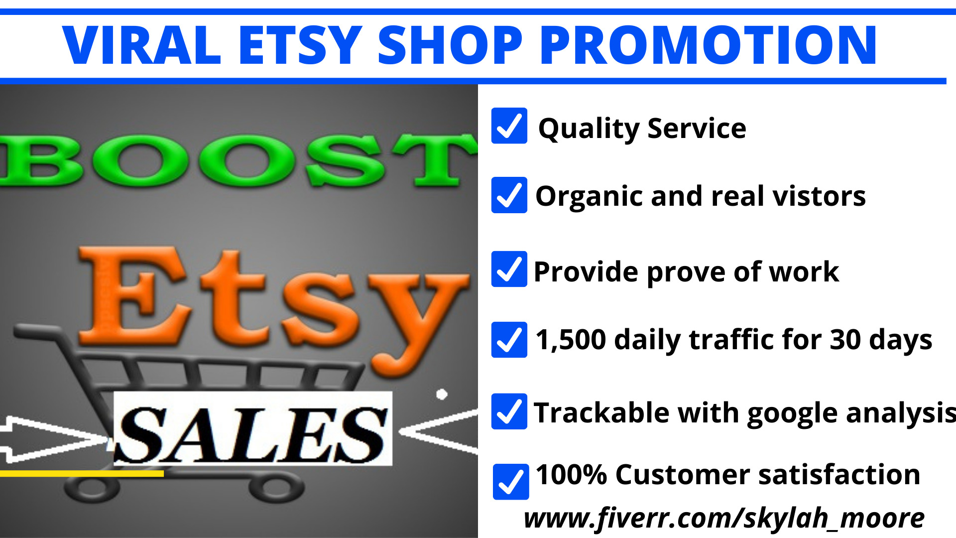 I will drive sales to etsy shop,etsy promotion,etsy traffic,etsy marketing to get, FiverrBox