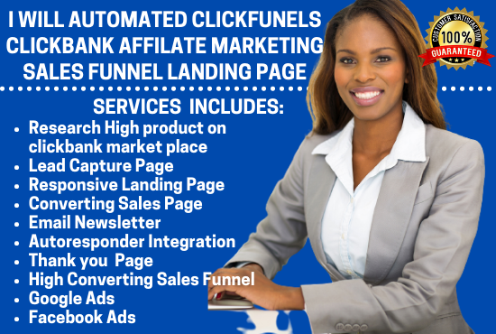 I will automated clickfunnels clickbank affiliate marketing sales funnel landing page, FiverrBox