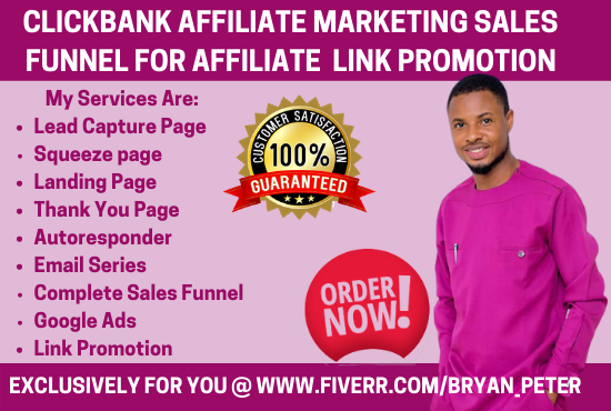 I will build clickbank affiliate marketing sales funnel for affiliate link promotion, FiverrBox