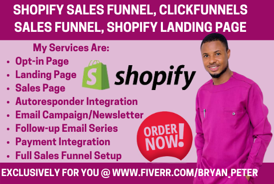 I will build shopify sales funnel, clickfunnels sales funnel, shopify landing page, FiverrBox
