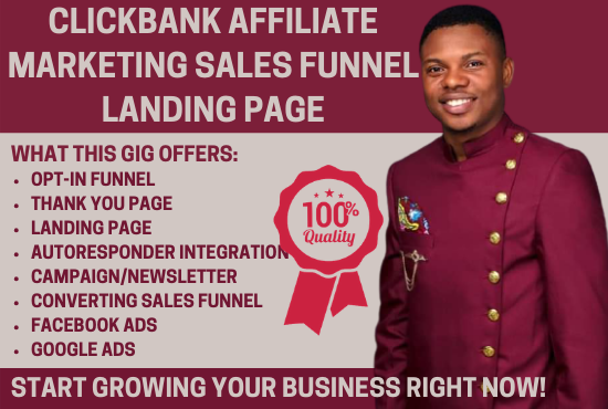 I will build autopilot clickbank affiliate marketing sales funnel landing page, FiverrBox