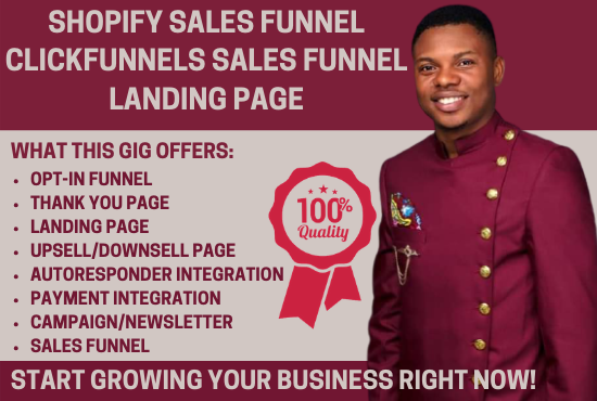 I will make sales funnel, shopify sales funnel, clickfunnels sales funnel landing, FiverrBox