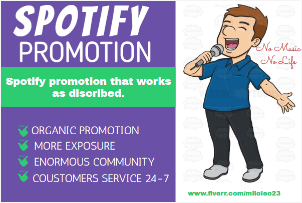 I will do organic Spotify promotion or Spotify music promotion, FiverrBox