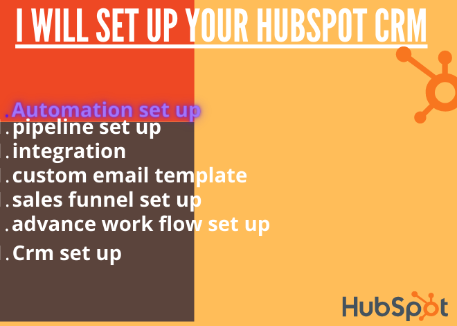 I will setup converting hubspot CRM with sales funnels and automation, FiverrBox