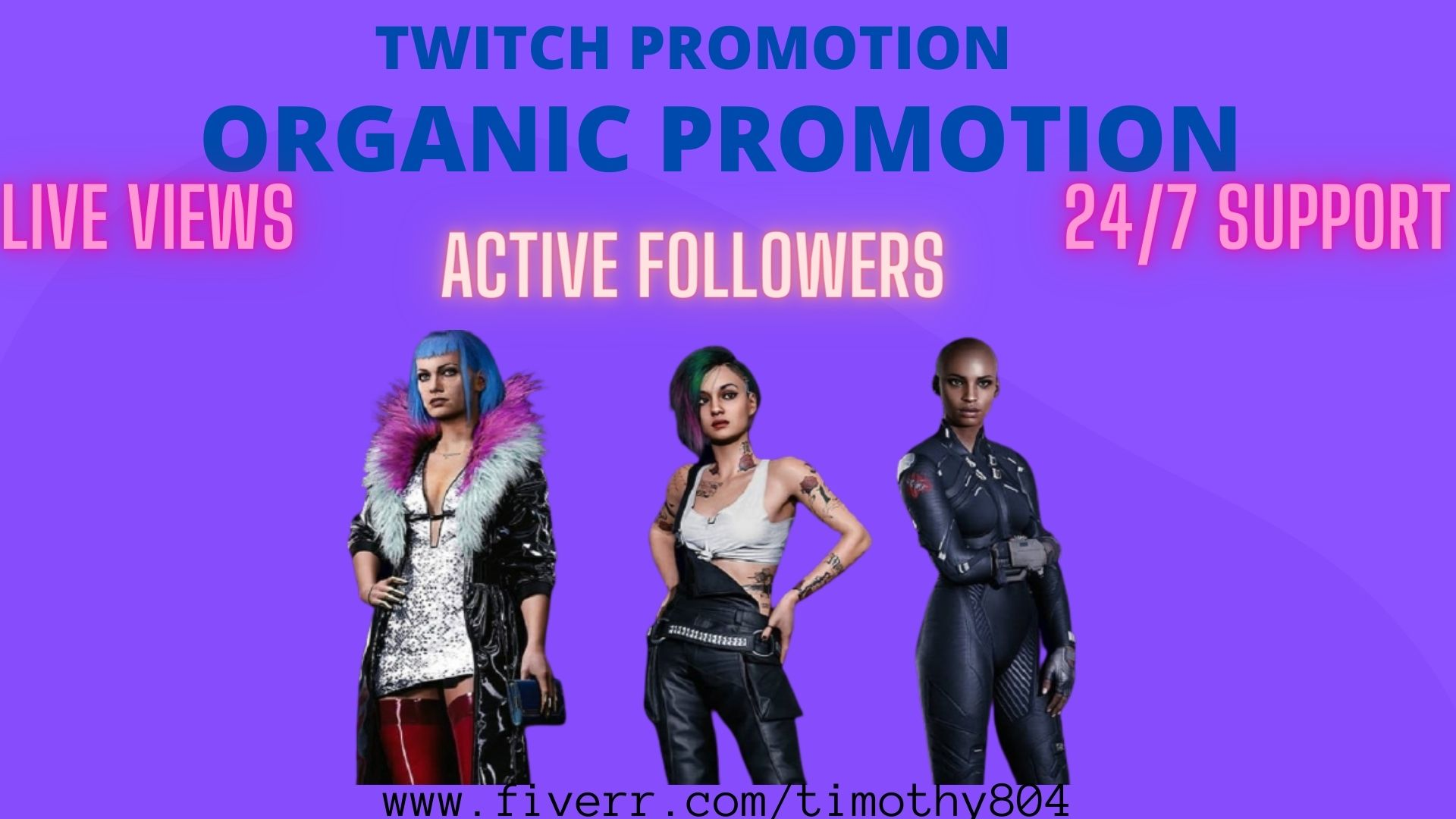 I will promote your twitch channel to get you affiliate or partner, FiverrBox
