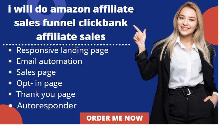 I will do amazon affiliate sales funnel, clickbank affiliate sales funnel, landing, FiverrBox