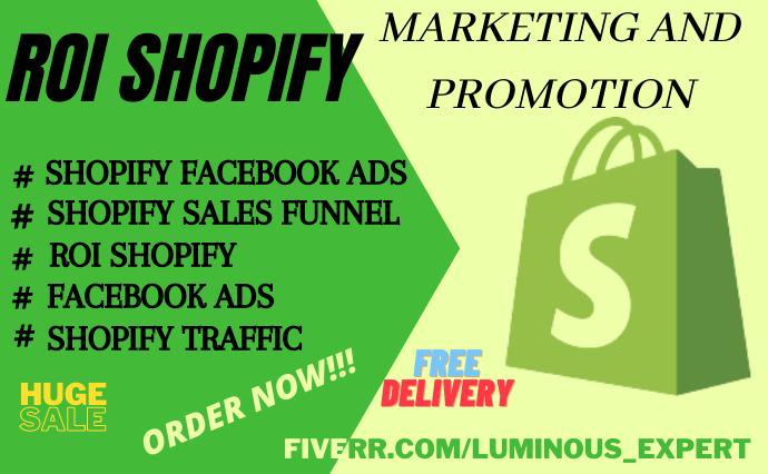 I will ROI shopify marketing, shopify facebook ads, klaviyo flow, FiverrBox