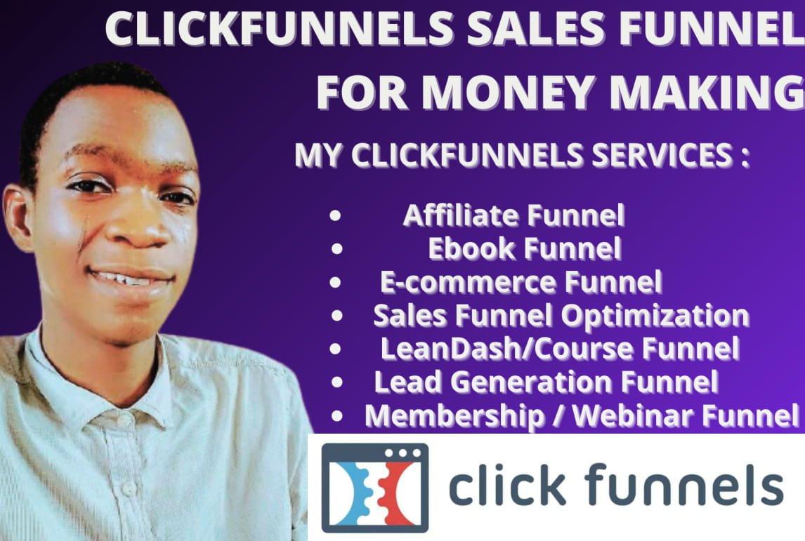 I will do clickfunnels sales funnel,clickfunnels sales page, clickfunnels landing page, FiverrBox