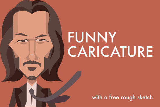 I will make a funny cartoon caricature with a free rough sketch, FiverrBox