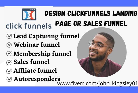 I will design clickfunnels landing page sales funnel, FiverrBox