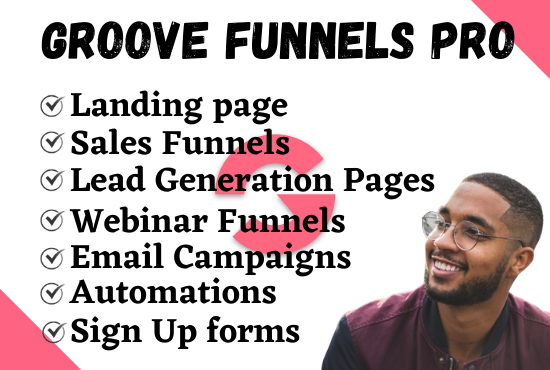 I will build groove funnel landing page, design groove funnel landing page sales funnel, FiverrBox