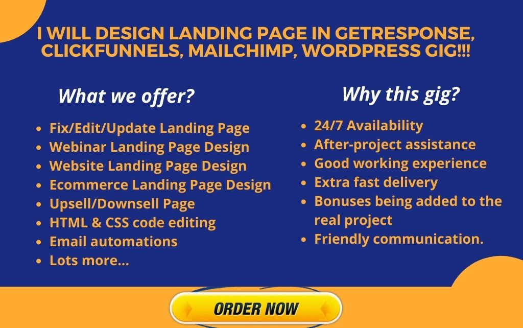 I will design landing page in getresponse, clickfunnels, mailchimp, wordpress, FiverrBox