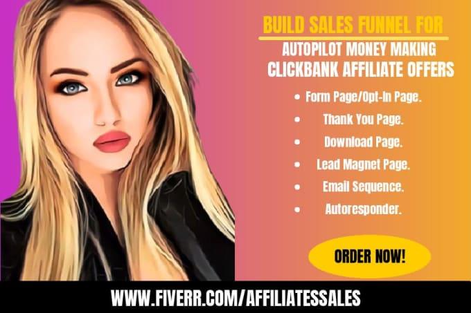 build sales funnel for autopilot money making clickbank affiliate products, FiverrBox