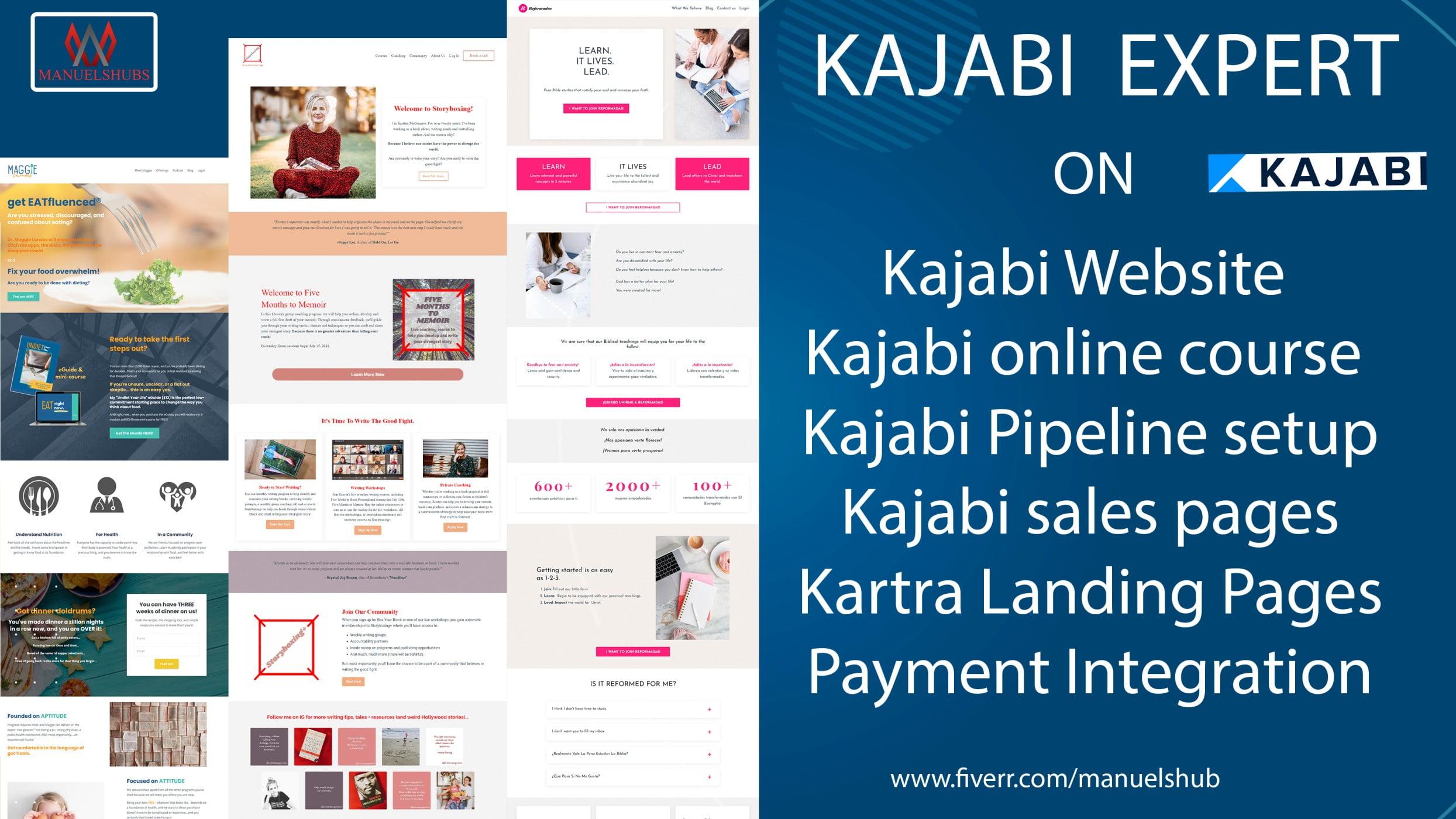 I will design your kajabi online course kajabi website and kajabi sales, FiverrBox