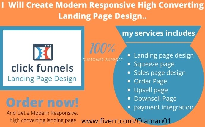 I will create modern responsive high converting landing page design, FiverrBox