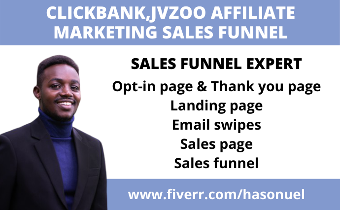 I will create clickbank, jvzoo sales funnel, digistore affiliate marketing sales funnel, FiverrBox