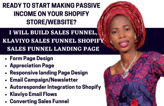 I will build sales funnel, klaviyo sales funnel shopify sales funnel landing, FiverrBox