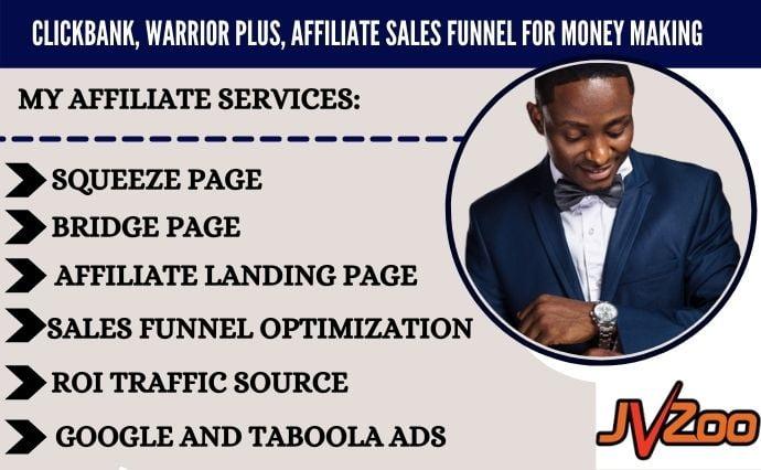 I will create clickbank, warrior plus, affiliate marketing sales funnel, sales funnel, FiverrBox