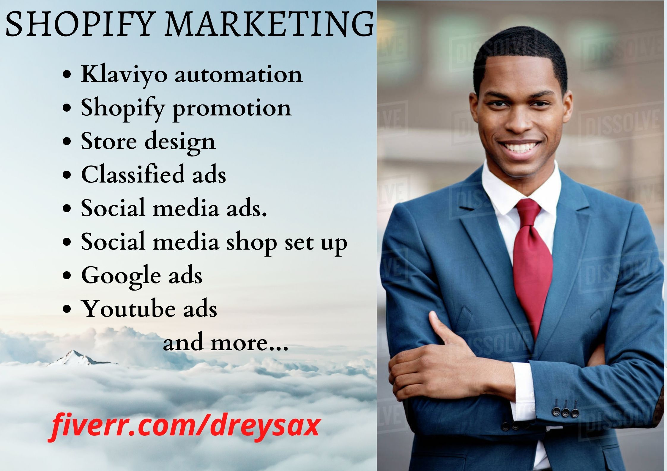 I will do shopify marketing promotion and traffic shopify sales klaviyo email, FiverrBox