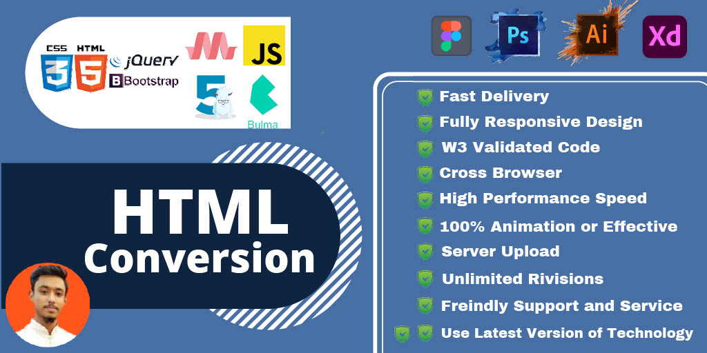 I will convert psd to html,xd to html, figma to html with, FiverrBox
